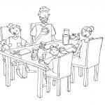 Ausmalbild: Lotte und Max am Frühstückstisch